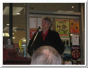 Image of Beverly Randell speaking at book launch