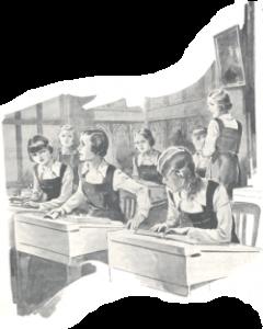 Schoolroom scene by J. Mills in 'Girls Own Annual'/ vol 57