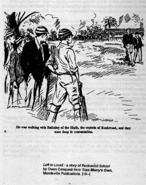 An illustration from Left to Lovell: a story of Rookwood School by Owen Conquest from Tom Merry's Own, Manderville Publications. date uncertain