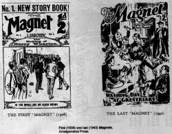 An image of the first (1908) and last (1940) issues of Magnet