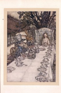 Illustration by Arthur Rackham (1907)  Note Rackham' distinctive use of black line, and his subtle colour palette.