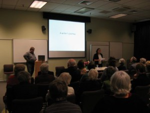 "Photograph of Philippa Werry presenting ""A writer's journey"" to the Friends, April 2010"