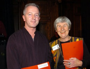 Graeme Gash, illustrator of Napoleon and the Chicken Farmer which was presented with an Honour Award. He is with his publisher Ann Mallinson Photograph from the NZ Booksellers website