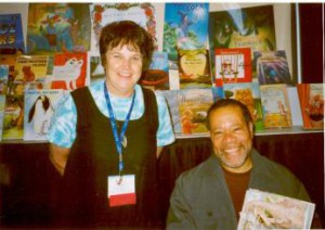 Lynne Jackett at the 2003 joint American & Canadian Library Association conference in Toronto. Lynne with illustrator Jerry Pinkney