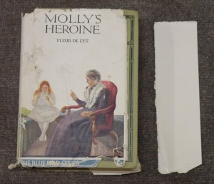 Dust jacket of Molly's heroine by Fleur de Lys needing repair