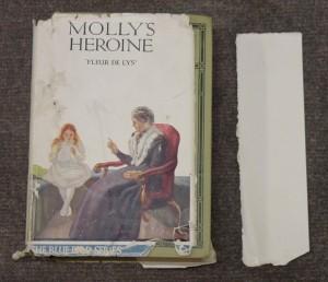Dust jacket of Molly's heroine by Fleur de Lys needing repair